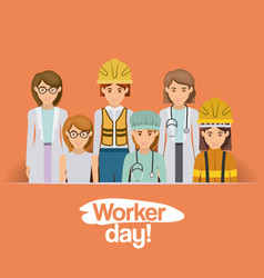 Colorful card with group of female workers on vector