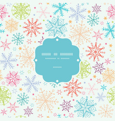 Colorful doodle snowflakes frame seamless pattern vector