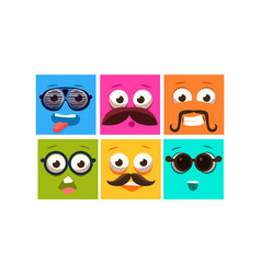 colorful faces with different emotions set square vector image