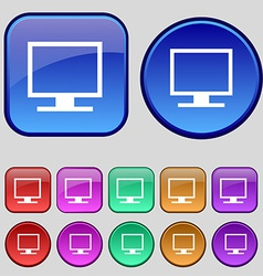 Computer widescreen monitor icon sign A set of vector image