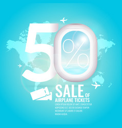 Conceptual poster sales and discounts of airaplane vector