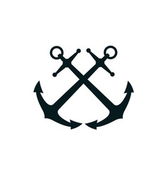 Crossed anchors silhouette vector