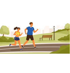 Cute couple dressed in sportswear running or vector