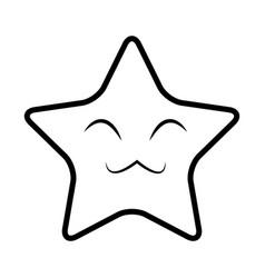 Cute kawaii star face emoticon character vector