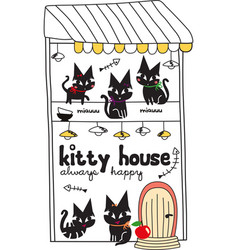 cute kitty house doodle vector image