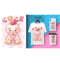 Cute teddy cock - poster and merchandising vector
