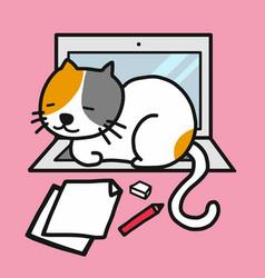 Cute white cat resting on laptop cartoon vector