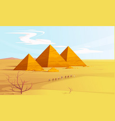desert landscape with egyptian pyramids and camels vector image