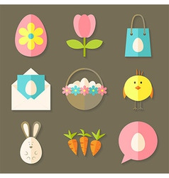 Easter icons set with shadows over brown vector image