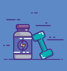 Energy bottle product with dumbell vector