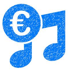 Euro music notes grunge icon vector
