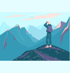 Explore mountain background man with vector