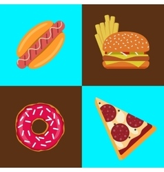 Flat fast food icons vector image