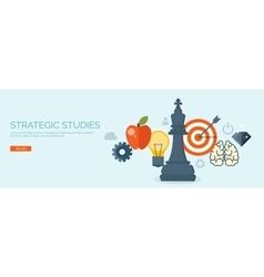 Flat header Hand and chess vector image