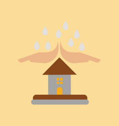 Flat icon on stylish background hand house rain vector