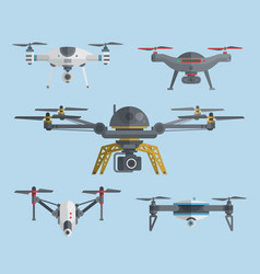 flying drones collection vector image