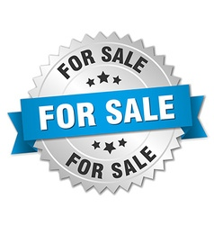 for sale 3d silver badge with blue ribbon vector image