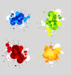 Four designs of acrylic splashes in four colors vector