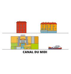 France canal du midi flat landmarks vector