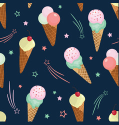 Fun ice cream and stars seamless pattern vector