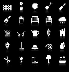 Gardening icons with reflect on black background vector image