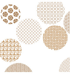 Geometric golden patterns formed circles on white vector