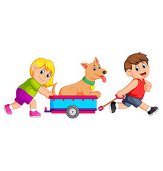 Girl and boy pulling wagon with dog vector
