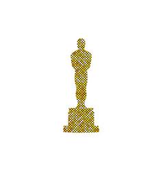 Glitter golden abstract oscar icon isolated vector