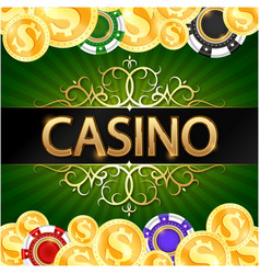 gold coins and casino chips game design vector image