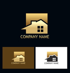 Gold house realty business logo vector