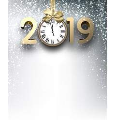 Grey 2019 new year background with gold clock and vector