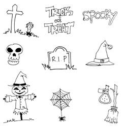 Halloween tomb scarecrow hat skull doodle vector