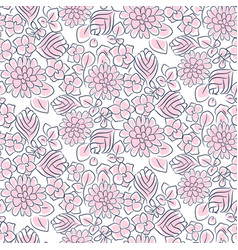 Handdrawn flower dense pink line seamless pattern vector