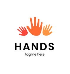 hands tagline here poster vector image