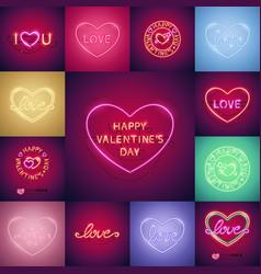 happy valentines day neon set vector image vector image