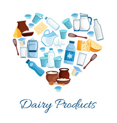 Heart composed milk and cheese products vector