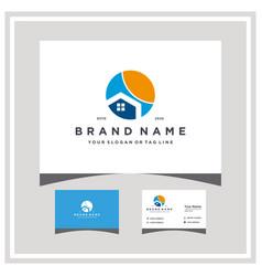 Home sun logo design with business card vector