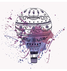 Hot air balloon with watercolor splash vector