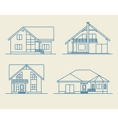 Houses linear 5 vector image