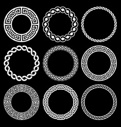 irish celtic round frame set braided vector image
