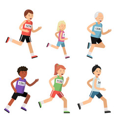 Jogging marathon sport people of different ages vector