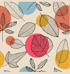 Leaves seamless pattern hand drawn autumn vector