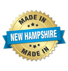 made in new hampshire gold badge with blue ribbon vector image