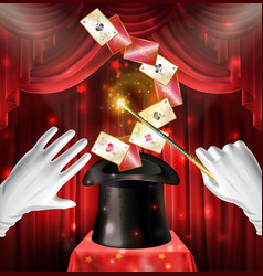 Magic show trick with cards flying out black hat vector