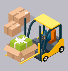 man driving and controlling forklift vector image