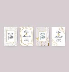 Marble gold texture card wedding invitation vector