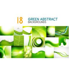 Mega collection of green shiny waves vector