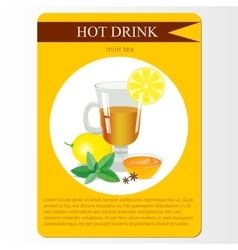 Mint tea menu item or sticker vector