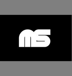 Ms m s black white bold joint letter logo vector