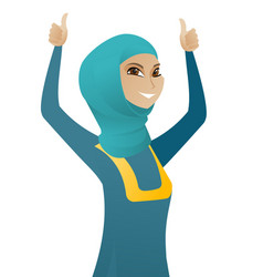 muslim business woman standing with raised arms up vector image